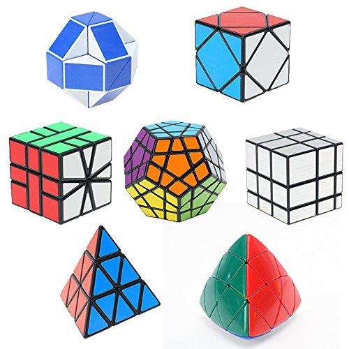 HJXDtech- Shengshou 7 Pack Cubos mágicos Conjunto de Cubo de Espejo megaminx pyraminx Square-1 Skewb Mastermorphix y 24 Rompecabezas de ...