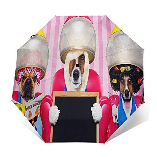 Paraguas Plegable Automático Impermeable Perros Peluquería Lectura, Paraguas De Viaje Compacto a Prueba De Viento, Folding Umbrella, Dosel Reforzado, Mango Ergonómico