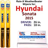 Rain-X WeatherBeater Wiper Blades for 2015 Hyundai Sonata Set Rain-X WeatherBeater Conventional Blades Wipers Set Bundled with MicroFiber Interior Car Cloth