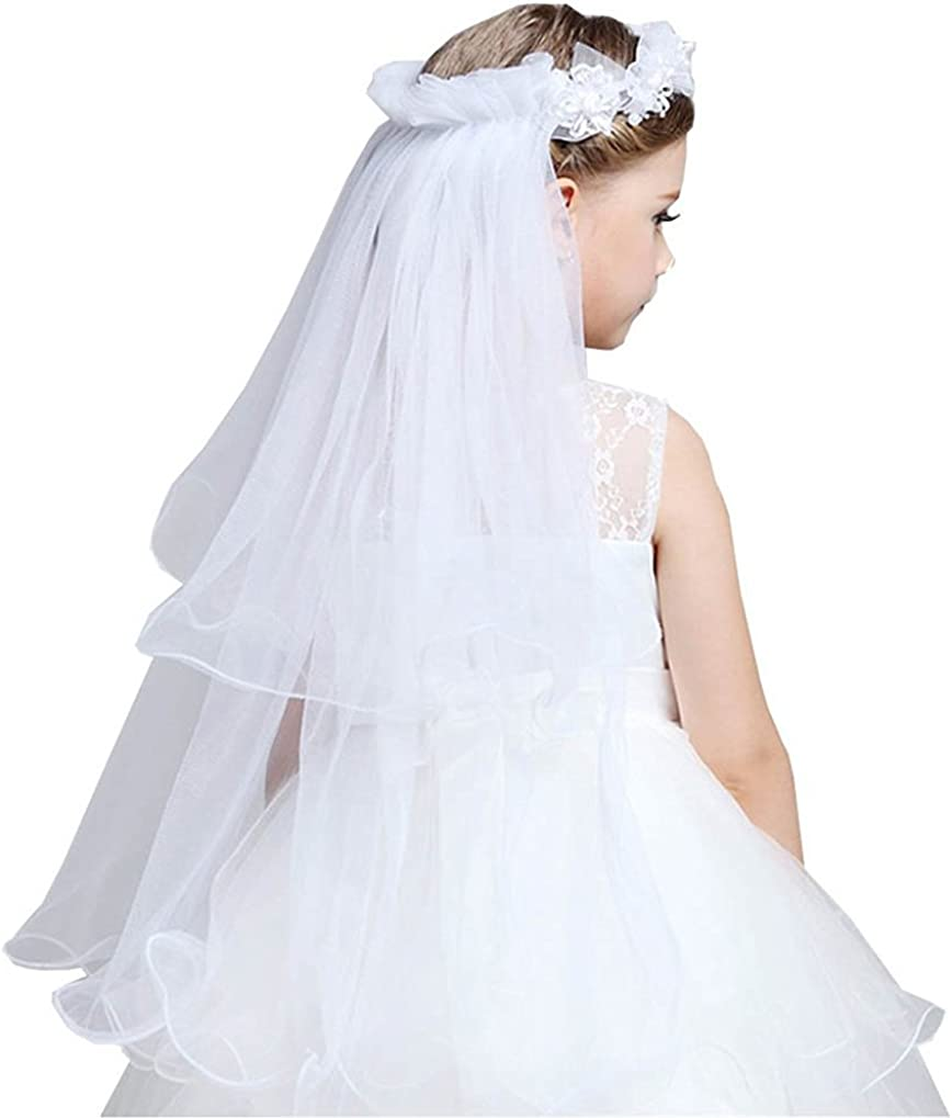 Xoemir Kids Girl's Cute Long 2T Tulle Flowers First Communion Veil with Headband