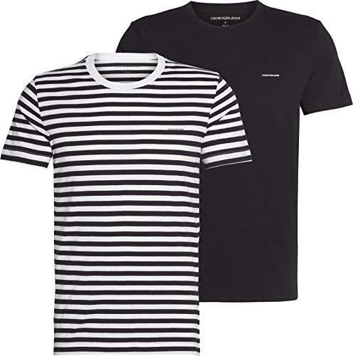 Calvin Klein Jeans 2 Pack Slim T-Shirt Camisa, Belleza Negra/Rayas Blancas y Negras, M para Hombre