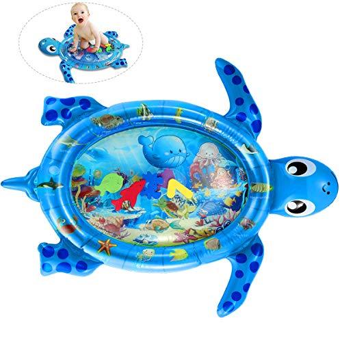 tappetino per acqua per pancia, per bambini, tappetino da gioco gonfiabile per neonato Forma di tartaruga marina per 3-18 mesi Ragazzi o ragazze (blu)