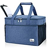 Voova Collapsible Cooler Bag Insulated Leakproof 40-Can Soft Sided Coolers Waterproof Portable Lunch Box Large Tote Bags for Camping, Picnic, Travel, Grocery Shopping, Beach, Road Trips, Sport, Blue