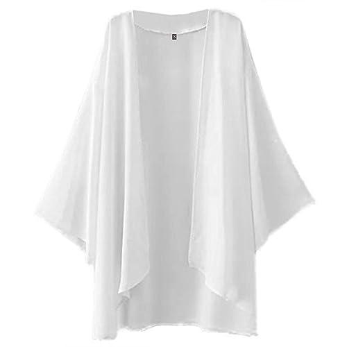 9eb27b97612eb Hsumonre Women's Solid Cover up Loose Chiffon Sheer Shawl Cardigan Kimono  Capes