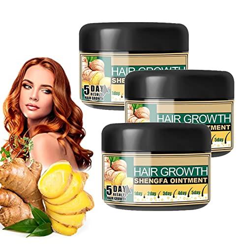 Natural Hair Growth Ginger Cream, Ginger Cream for Hair Growth, Ginger Hair Growth Serum Essence Oil, Hair Growth Treatment, Promotes Hair Thicker (3pcs)