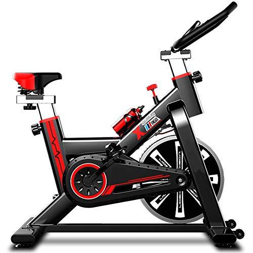 Bicicleta Estática Spinning, Fitness Spinning Bike Aerobic Home Resistencia Ajustable, Asiento Ajustable, Pantalla LCD, Carga máxima 150 kg, Negro + Rojo