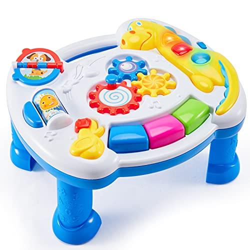 TOEY PLAY Tavolo Multiattivita degli Animali, Musicale Gioco Tavolino Centro Attivita con Luci e Suoni Giocattoli Educativi Regalo per Bambini Bambina 12+ Mesi