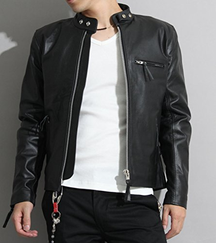 【本革】革ジャン バッファローレザー メンズ シングルライダースレザージャケットpb-1107 (ブラック, 50(6L))