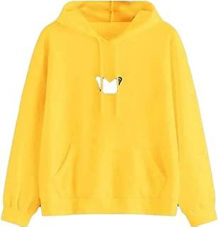 Macondoo Women's Pullover Pockets Long-Sleeve Hooded Casual Sweatshirts