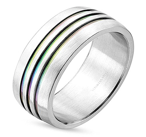 Triple Line Anodized Rainbow Ring - Gay and Lesbian LGBT Pride Jewelry - Gay & Lesbian Pride Stainless Steel Promise or Wedding Ring Band. (5)