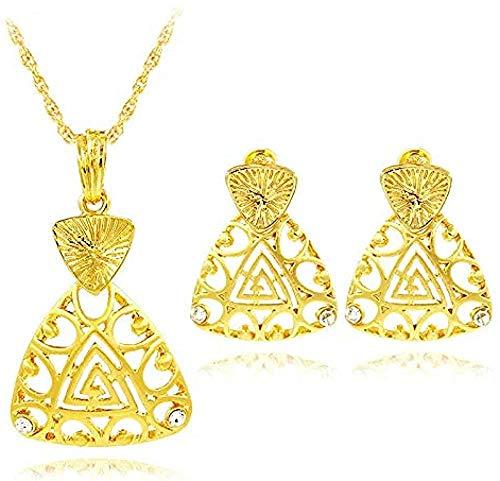 Yaoliangliang Aleación Zirconia cúbica Corazón Triángulo Mujeres S Collar Pendientes Colgante Conjuntos de joyería Ahueca hacia Fuera para la Fiesta Regalo Diario Longitud del Collar 45Cm