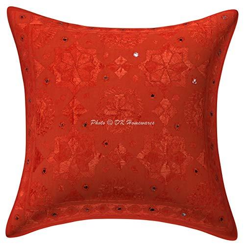 DK Homewares Baumwolle indischen böhmischen Kissenbezug 16 x 16 Zoll Orange ethnische verspiegelt Bestickt dekorative Dekokissen Decken 40cm x 40cm Platz Wohnzimmer Kissenbezug (1 PC)