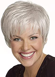 Emmor Short Silver Grey Human Hair Wigs for Women Blend Pixie Cut Wig With Bang Light Weight,Natural Daily Use Hair (Color 101#)