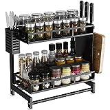 AIYAKA 2 layer stainless steel spice rack, multifunctional countertop shelf for jars, bottles, etc, detachable, with 3 extra side hooks, black