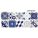 Wingbind Ensemble de 10 Autocollants carrelage Cuisine Salle de Bains, Stickers muraux Auto-adhésifs imperméables de Style Vintage marocain, Style Victorien, 20 cm x 20 cm