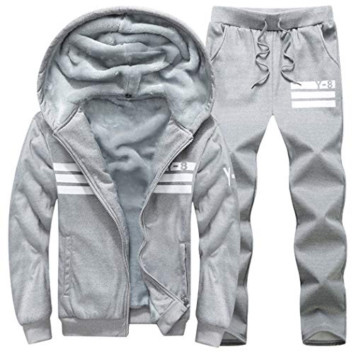 Modern Fantasy Mens Fleece Lined Sweatsuit Striped Casual Winter Coat Sports Tracksuit Lightgrey M