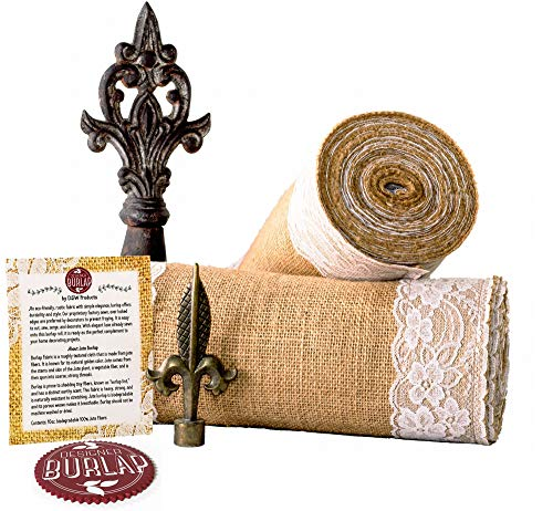 Designer Burlap Table Runner - for Farmhouse-Style Dining Room - Woven Jute Fabric Placemats or Centerpieces - Rustic Home Decor for Coffee, Tea, & Outdoor Tables - Long Roll, 12 Inches x 360 Inches