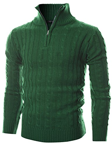 GIVON Mens Slim Fit Cable Knit Quarter Zip Long Sleeve Turtle Neck Pullover Sweater/DCP044-GREEN-XL