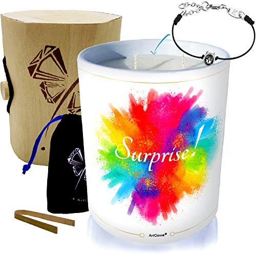 Vela grande joya con cristal de Swarovski® • Perfume monoï de Tahití • Caja de regalo de madera y bambú • Explosión de color