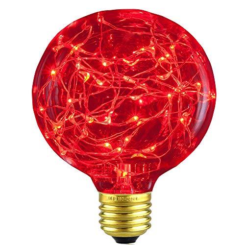 XinRong Dekoratives Leuchtmittel, Edison LED-Sternenhimmel, Kupferdraht-Lichter, E27Sockel 220V 3W, energiesparend, Vintage-Glühbirne für Innenbereich, Dekoration, rot
