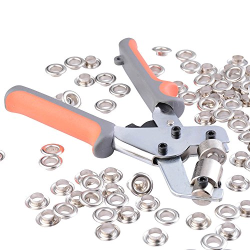 "Yescom Portable Handheld Grommets Punching Machine Manual Puncher Press Tool w/ 500pcs 3/8""(10mm) Eyelets"
