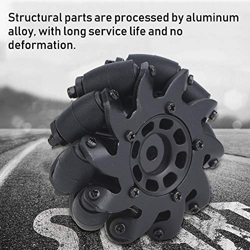 Dilwe 4PCS Aluminiumlegierungs-Antriebsrad-Roboter-Installationssatz omnidirektionales Mecanum Rad mit Goldmuttern für RC Roboter
