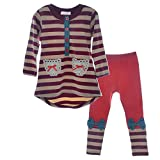 little Girls Cute Long Sleeve Top & Pant Clothes Set(Red1,Tag 130)