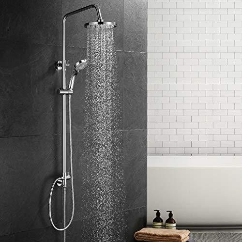 Duschsystem ohne Armatur, WOOHSE Duschsäule Regendusche Duschset mit Überkopfbrause und 3 Strahlarten Handbrause Dusche Duscharmatur mit Messing Umsteller Höhenverstellbar Duschstange für Bad