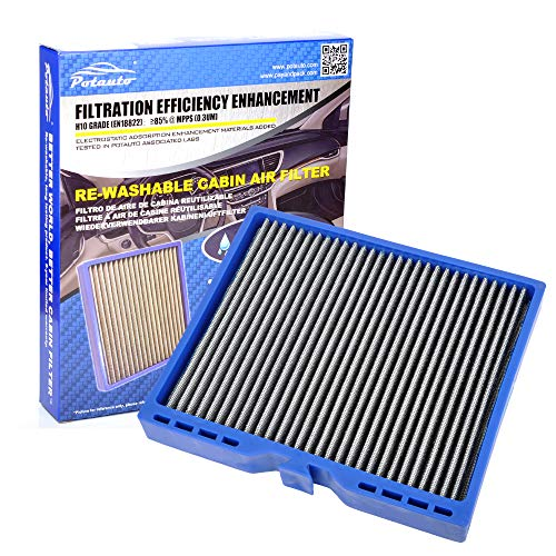 Potauto MAP 5007 (CF10775) Re-Washable Cabin Air Filter Cleans Airflow for Buick, Allure, Lacrosse, Regal, Verano, Encore, Cadillac, ELR Hybrid, SRX, Chevrolet, Cruze, Malibu (Re-Washable)