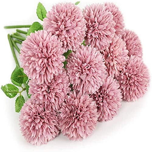 YYHMKB Artificial Flowers 12Pcs Chrysanthemum Ball Flowers Silk Hydrangea Bridal Wedding Bouquet For Home Garden Party Office Coffee House Decorations Purple