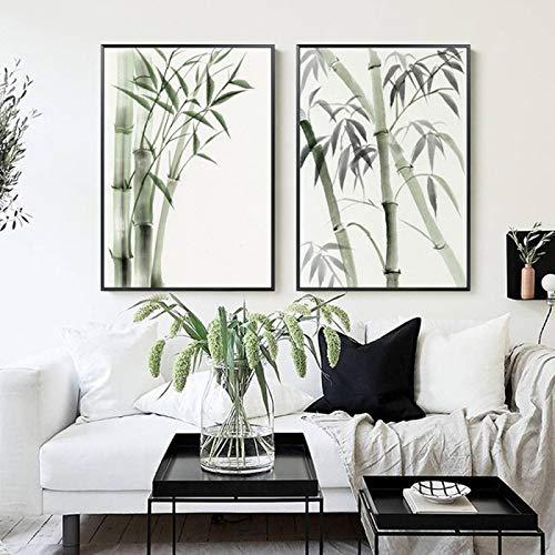 Domrx Arte de la Pared de la Lona Nordic Modern Bamboo Gentleman Pintura Decorativa Sala de Estar Foto Arte de la Pared Imágenes Estudio Corredor Posters-50x70cm Sin Marco