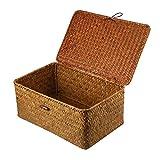 Vosarea Rattan Storage Basket Makeup Organizer Multipurpose Container with Lid (L)