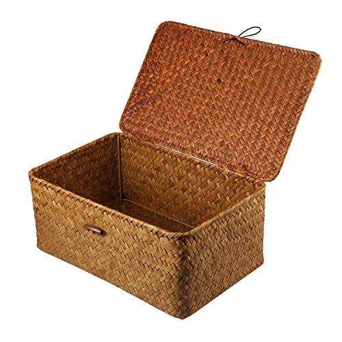 Vosarea Woven Basket Seagrass Wicker Rattan Ablagekörbe Box rechteckige Picknickkörbe Wäschekörbe Mit Deckel Größe L 29X19X12cm
