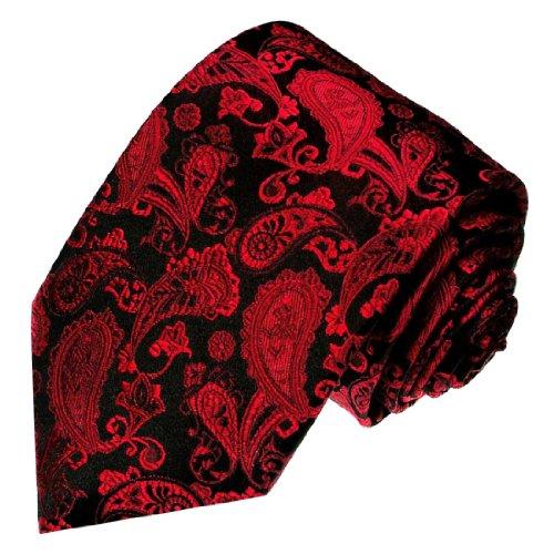 Lorenzo Cana XXL Überlänge 165 cm lang Marken Krawatte aus 100% Seide - rot schwarz Paisley Design - 8421799