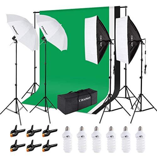 2,6M x 3M Soporte de Fondos y Kit Paraguas de luz Iluminación Continua 5500K...