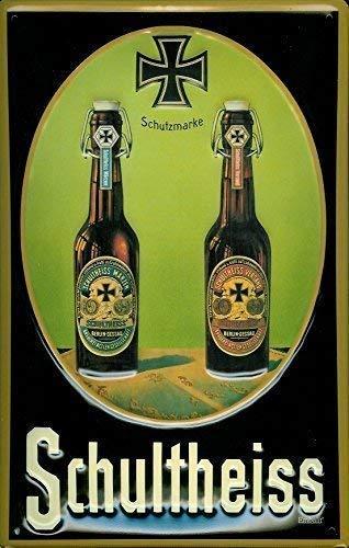 Schultheiss Bier Flaschen Blechschild Schild Blech Metall Metal Tin Sign 20 x 30 cm