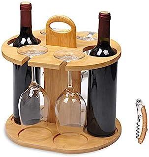 Service21 Wijnfleshouder voor 2 flessen en 4 glazen inclusief gratis wijnflesopener van 100% duurzaam bamboe