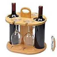 service21 - porta bottiglie di vino per 2 bottiglie e 4 bicchieri con apribottiglie gratuito, 100% bambù sostenibile