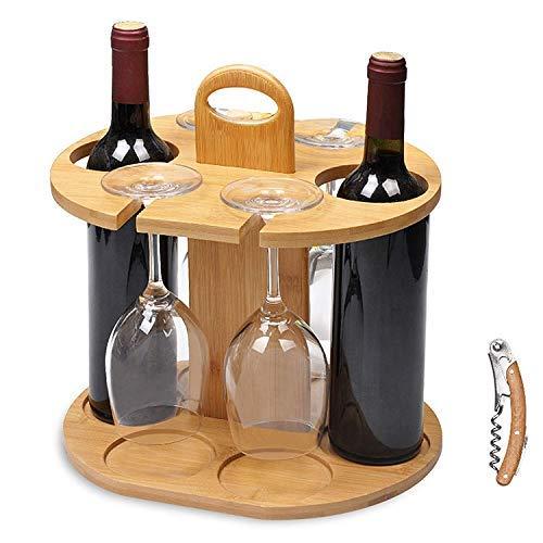 Service21 Weinflaschenhalter für 2 Flaschen und 4 Gläser inklusive kostenlosem Weinflaschenöffner aus 100% nachhaltigem Bambus