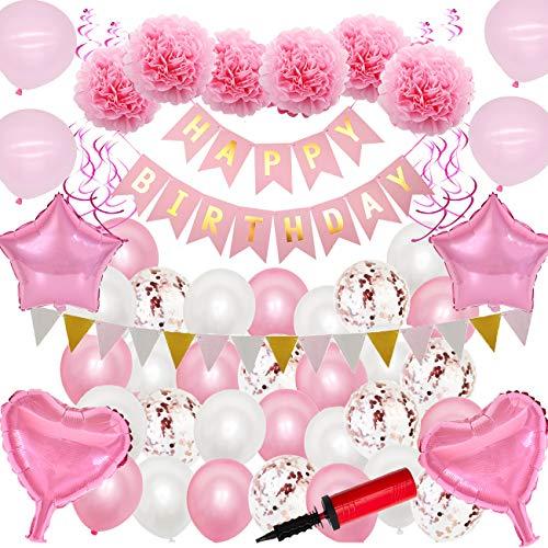 [Con bomba] 84 Piezas FELIZ CUMPLEAÑOS Kit de decoración de fiesta Banner Confeti Globos de látex Papel de aluminio Pom Poms Borlas con globo de mano Bombas de aire Niñas Mujeres