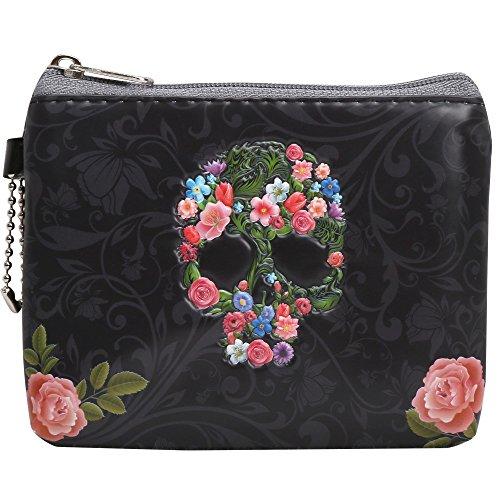 Coolrunner 3D Skull Series zipper coin purse small wallets mini change purse (Purse)