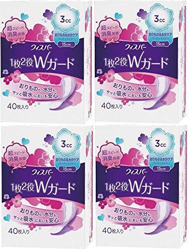 [Compra a granel] 1 susurro 2 roles W guardia de absorción de agua cuidado para las mujeres 3cc Origami & cuidado de la humedad Panty liner 40 piezas 15cm x 4 piezas
