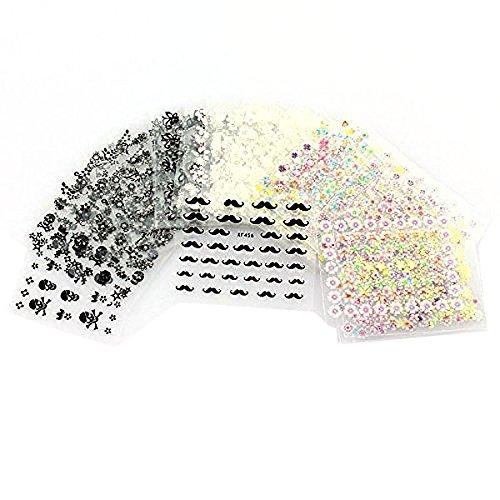 VORCOOL 50 feuilles de couleurs mélangées 3D conçoivent pointe autocollant Nail Art Stickers Autocollants à ongles conseils décorations (motif de couleur aléatoire)