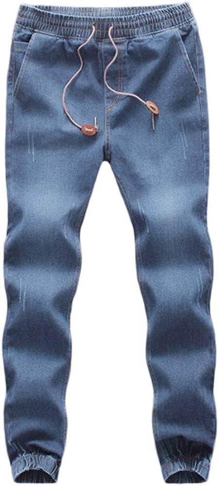 WUAI-Men Denim Jogger Jeans Comfy Strench Drawstring Elastic Waist Jeans Pants Plus Size