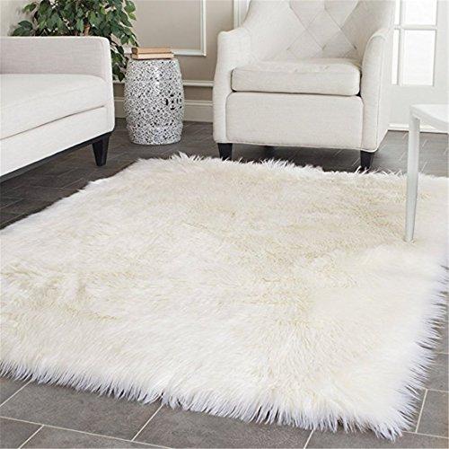 Faux Silky Deluxe Sheepskin Area Shag Rug Children Play Carpet White,4x6ft