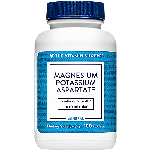 The Vitamin Shoppe Magnesium Potassium Aspartate, Well Absorbed Form of Chelated Magnesium Potassium, Supports Energy Production (100 Tablets)