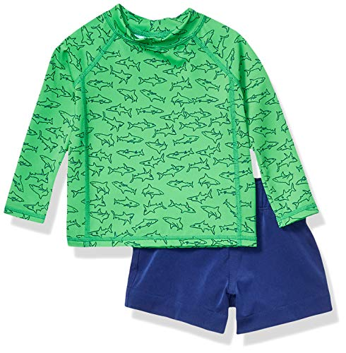 Amazon Essentials UPF 50+ Baby Boy's 2-Piece Long-Sleeve Rashguard and Trunk Set, Green Shark, 6M