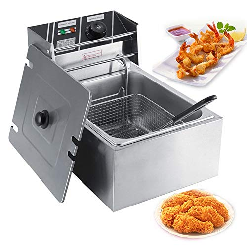 SOULONG friggitrice elettrica Professionale in Acciaio Inox da 6 Litri con Cestino per Uso Commerciale E Domestico Spina della UE