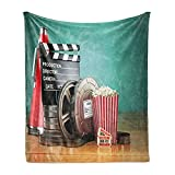 Ambesonne Movie Theater Soft Flannel Fleece Throw Blanket, Production Theme 3D Film Reels Clapperboard Tickets Popcorn and Megaphone, Cozy Plush for Indoor and Outdoor Use, 50' x 60', Seafoam