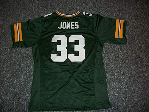 Unsigned Jones #33 Green Bay Custom Stitched Green Football Jersey Various Sizes New No Brands/Logos (2XL)